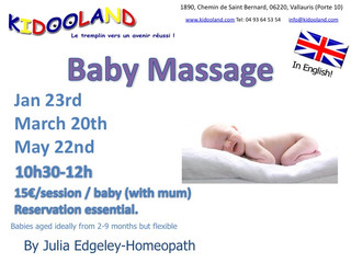 Baby massage with Julia Edgeley homeopath in 2017