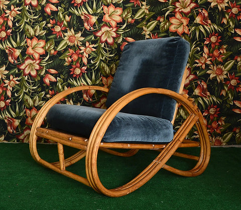 VINTAGE RATTAN LOUNGE CHAIR WITH VELVET CUSHIONS