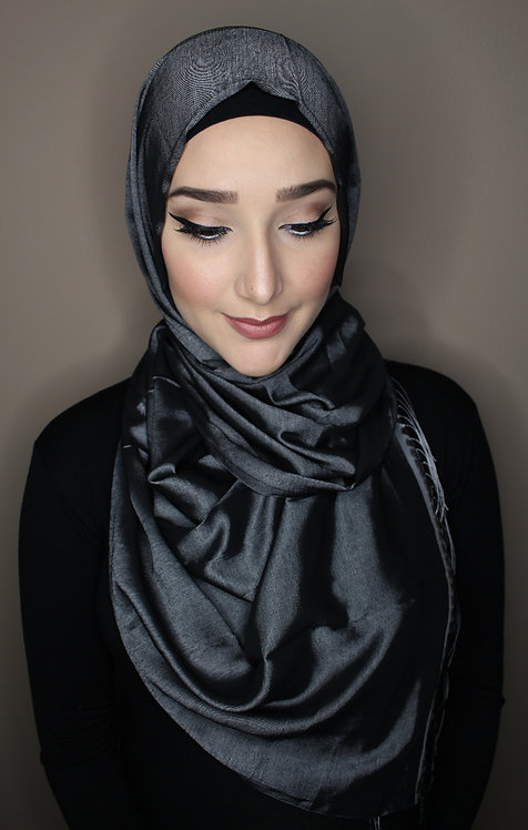 METALLIC EDGE HIJAB - Platinum/Black