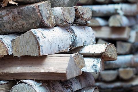Birch firewood near the furnace firebox.