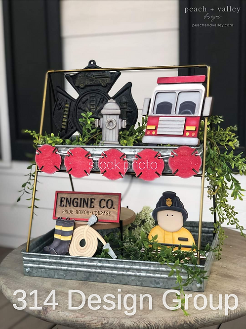 First responder/Firefighter tiered tray decor