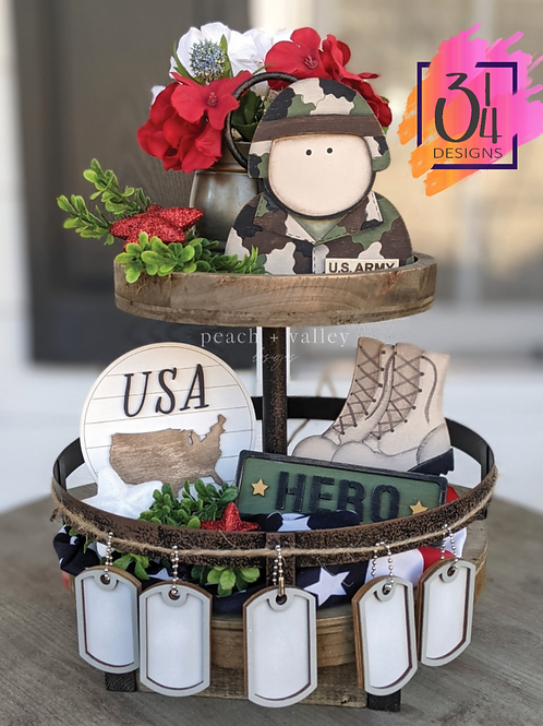 Military tiered tray decor