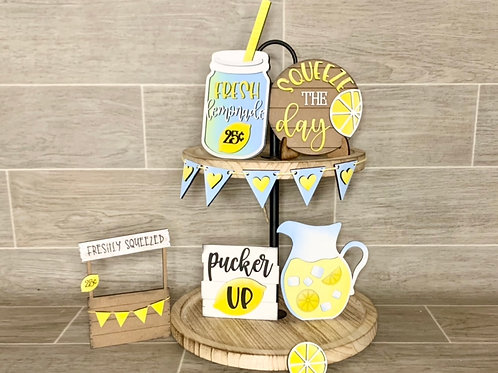 Lemonade stand tiered tray decor