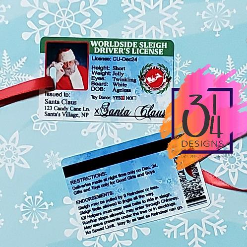 Santa's drivers license  (ornament)
