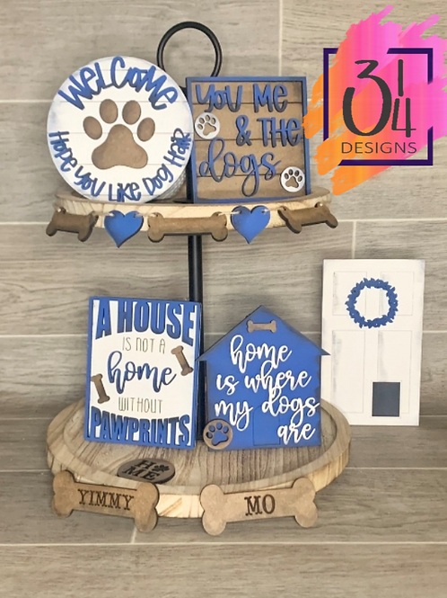 Dog lovers tiered tray decor
