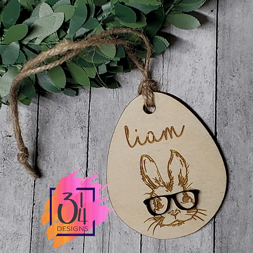 Rabbit Easter basket tag