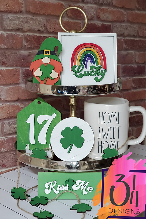 St. Patrick's Day tiered tray decor