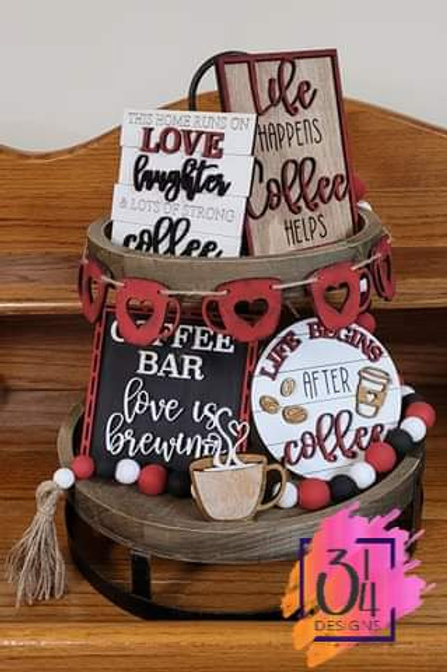 Coffee lovers tiered tray decor