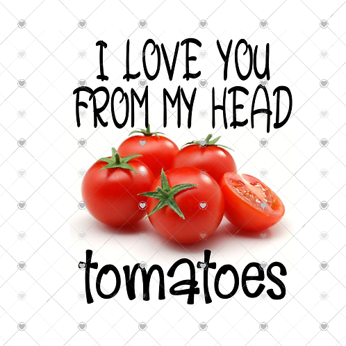 I love you from my head tomatoes hand towel