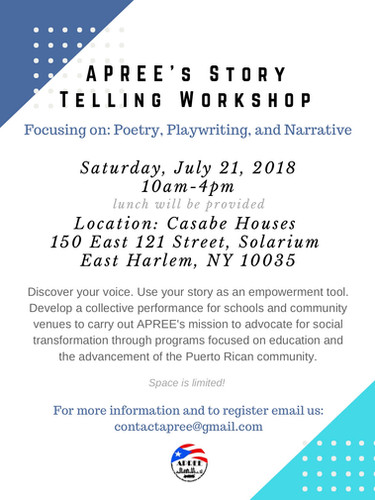 2018 July 21 Story Telling Workshop