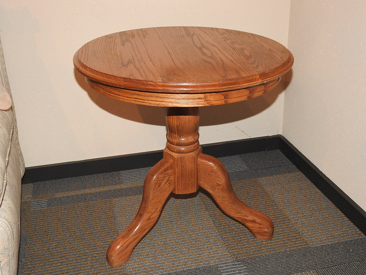 Oak Round End Table