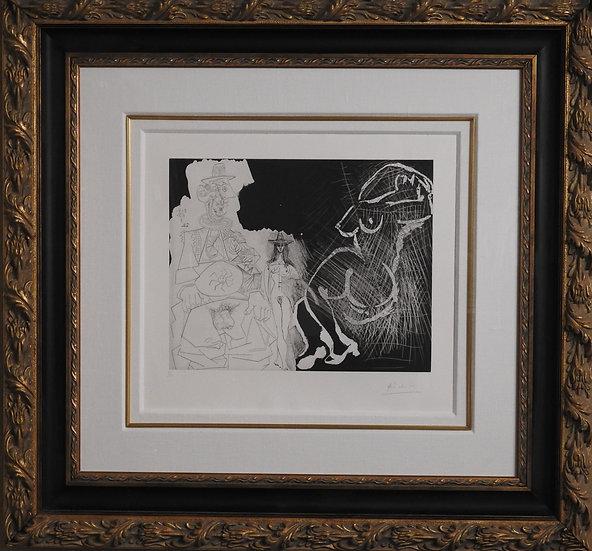Picasso, Pablo - Caricature du General de Gaulle, et Deux Femmes - 1968