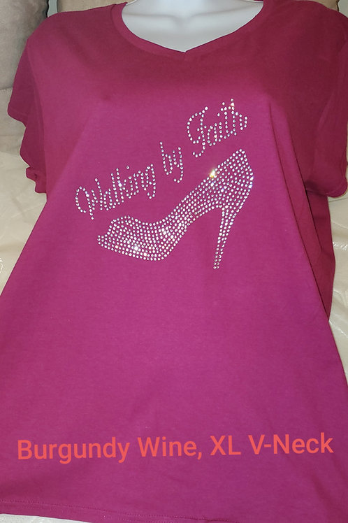 "Burgundy Wine Short Sleeve, ""Walking by Faith,"" T-Shirt"