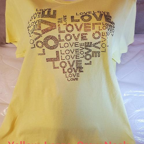 "Yellow, Large, ""Love"" Short Sleeve T-Shirt"