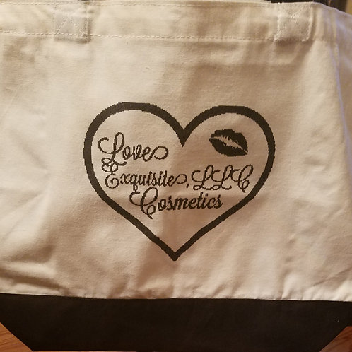 Large Two-Tone Love Exquisite Cosmetics, LLC Tote Bag
