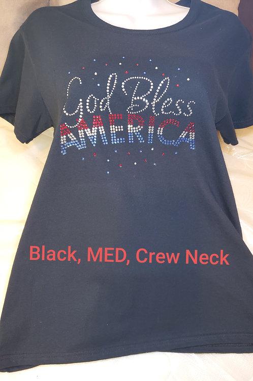 """Black Short Sleeve, """"God Bless America"""" T-Shirt"""
