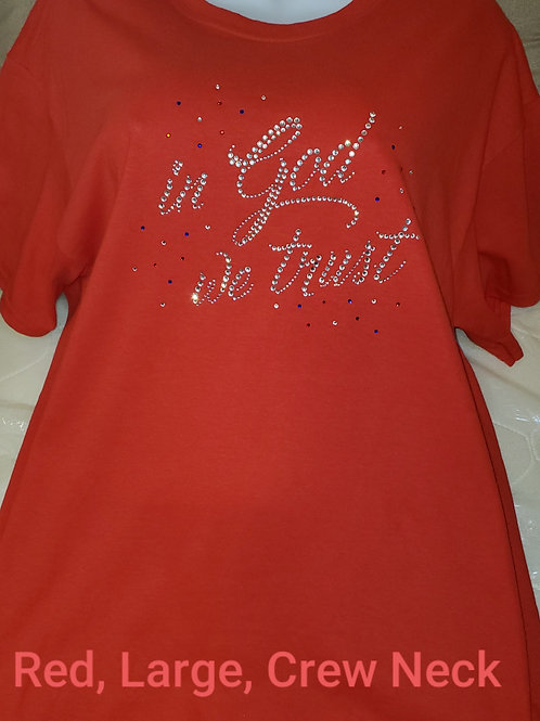 """Red, Large, """"in God we trust"""" Short Sleeve T-Shirt"""