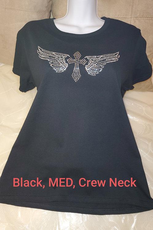 "Black Short Sleeve, ""Angel Wings and Cross T-Shirt"