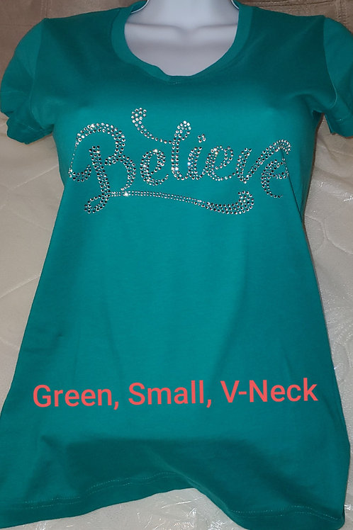 "Aqua Green ""Believe"" Short Sleeve T-Shirt"