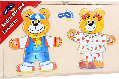 Small Foot Design Puzzle in legno Dress Up Bear and Bear Woman