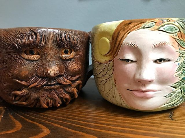 I had too much fun making these mugs for a friend!__#clay #ceramic #clayart #ceramics #ceramicart #f