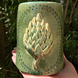 One of a kind Beer Stein with handsculpted Hops...just added to my Etsy shop! Swipe left for more vi