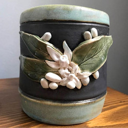 This Orange Blossom Mug or Stein is wheelthrown and then handsculpted