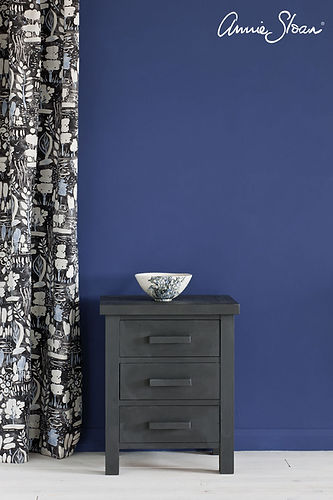 Graphite-side-table-Napoleonic-Blue-Wall