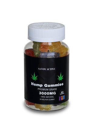 Vegan Hemp Seed Oil Gummies With Pectin - 3000mg - 60 Gummies - 50mg / Gummy