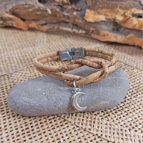 bracelet en liège naturel lune noeud marin