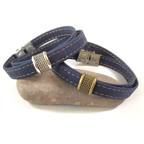 Bracelet en liège Baptiste bleu foncé