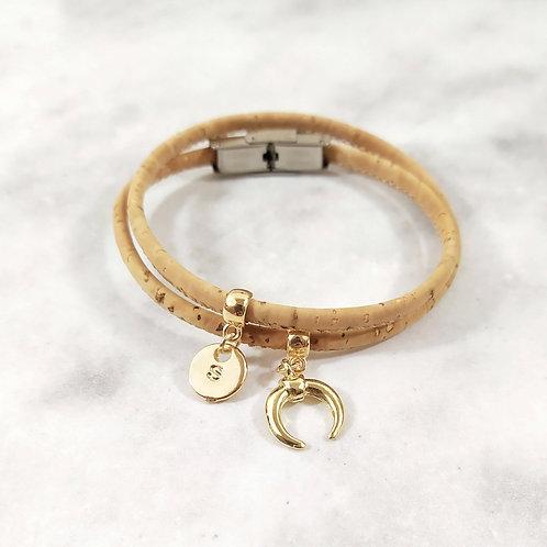 Bracelet en liège personnalisé initiale