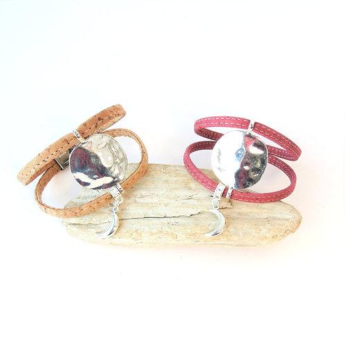 Bracelet manchette femme avec pendentif lune INÈS