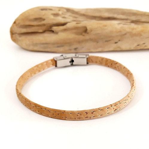 bracelet en liège fin homme beige vegan