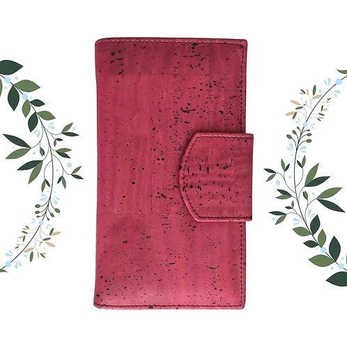 Grand portefeuille en liège couleur vigne