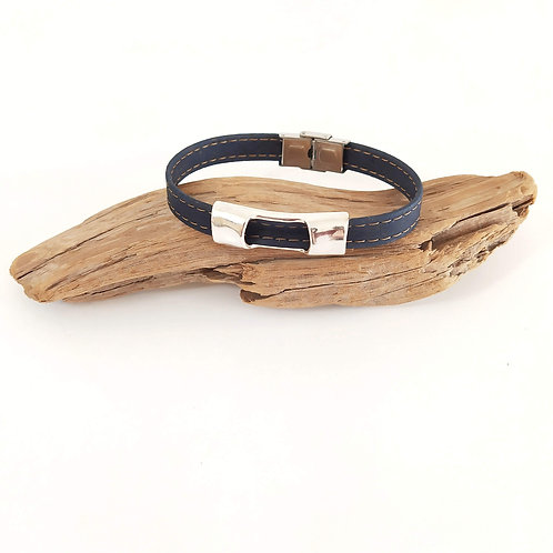 bracelet en liège homme vegan bleu
