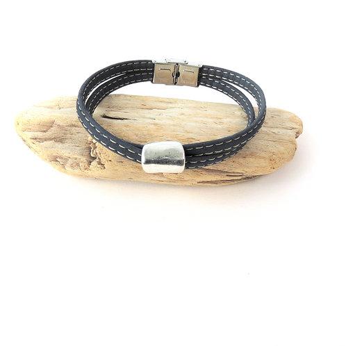 Bracelet en liège bleu marine avec perle argenté