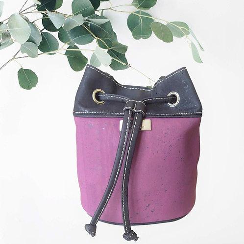 sac sceau en liège violet et noir