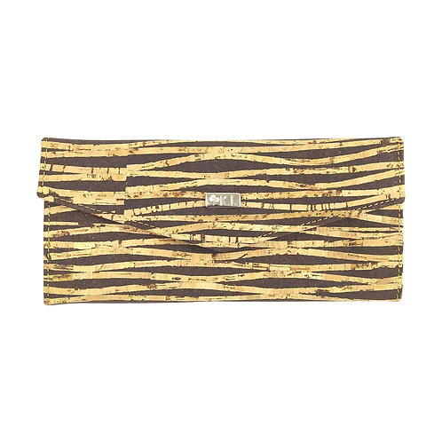 portefeuille en liège beige zébré naturel pour femme