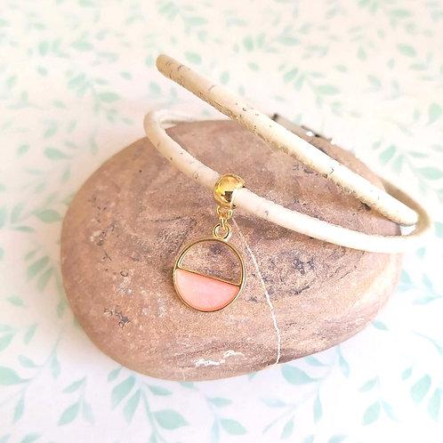 Bracelet en liège nacré rose