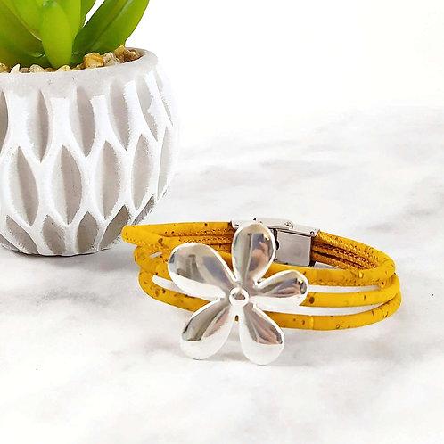 Bracelet en liège fleur