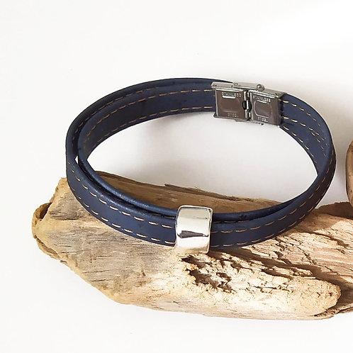 bracelet en liège homme bleu naturel