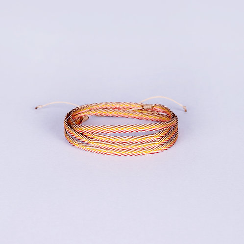 Cocora Silk Armband - Brown/Yellow/Red