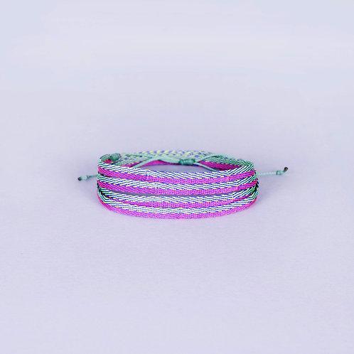 Cocora Silk Armband - Green/Pink/Purple