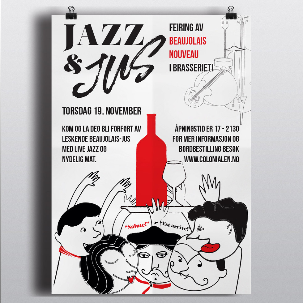 Jazz N Jus poster illustrated and designed by Linley