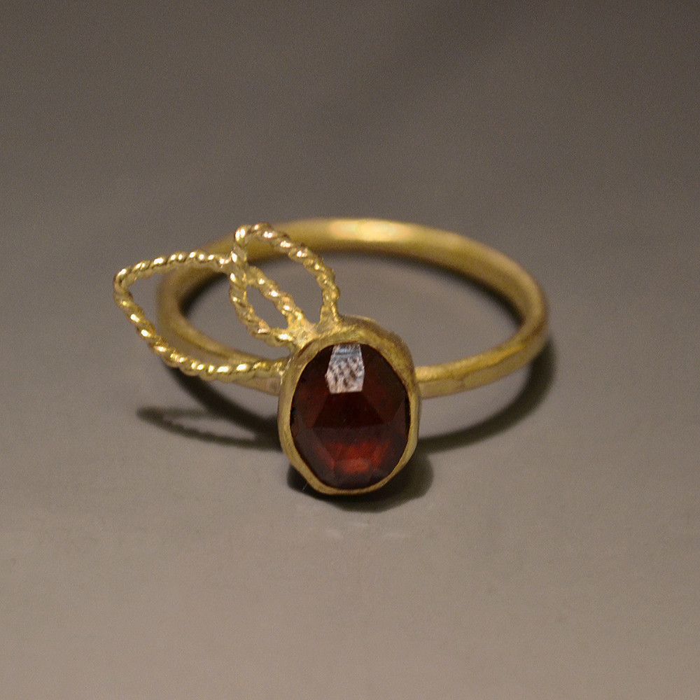 7 Leaf Ring, Gold Garnet (Custom).jpg
