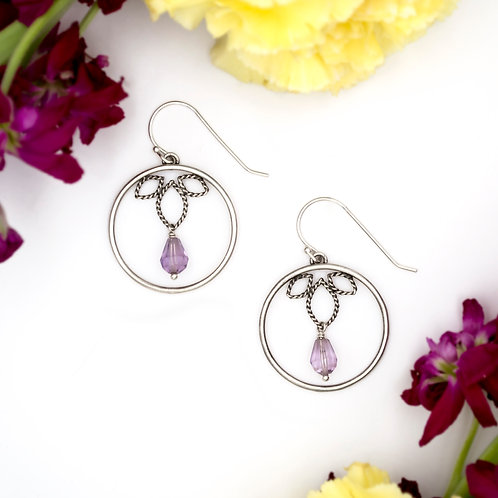 Lotus Drop Earrings: Amethyst