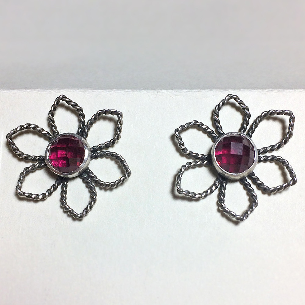 4 Post Earrings, Ruby Poinsettia (Custom