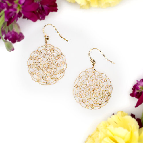 Large Woven Mandala Earrings: Goldfill