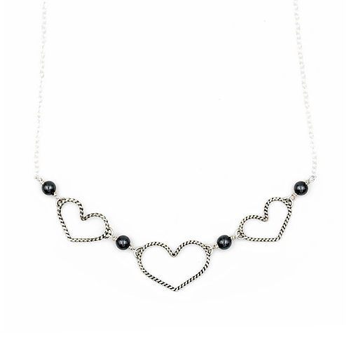 Pretty Little Hearts Necklace: Hematite